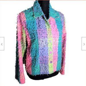 Life Style Womens L Pastel Stripe Fringe Jacket